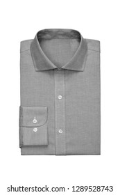 Fashionable grey checkered mens shirt isolated on a white background
