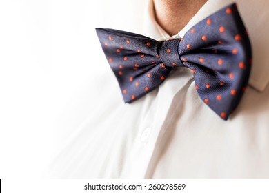 A fashionable groom wears a bowtie. A close-up shot of a man wearing a bowtie