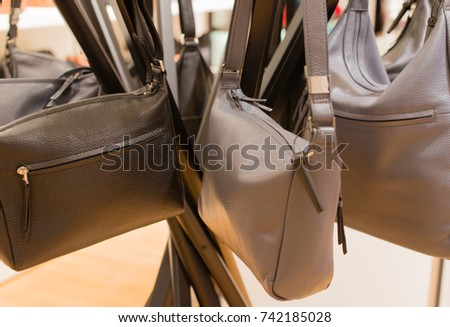 0236dee9938f ... Stock Photo (Edit Now) 742185028 - Shutterstock. Fashionable handbags  in sale on a stand