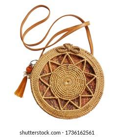Fashionable handmade natural organic rattan bag. Trendy bamboo eco bag from bali isolated on white