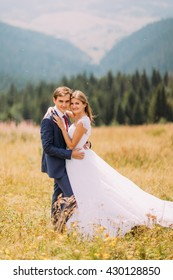 Fashionable and happy wedding couple hugging on sunny field with forest background