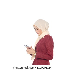 Fashionable hipster woman chatting in social network via mobile phone,against white background