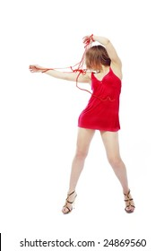 Fashionable lady in red dress playing and moving her chaplet