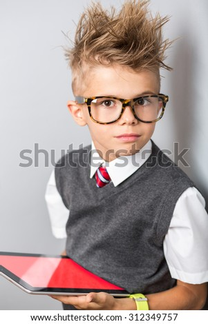 Fashionable Little Boy Sunglasses Funny Hairstyle Stock Photo Edit