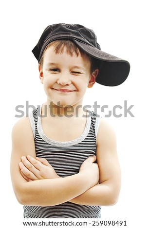 71d86b76e Fashionable little boy.Hip-Hop Style. fashion children.handsome blond kid. Pose  Boy in Tracker Hat. Young Rapper. Funny Child in Cap. 5 years old - Image