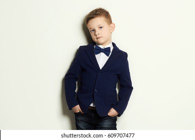 fashionable little boy.stylish kid in suit and tie.child
