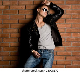 fashionable man near the wall