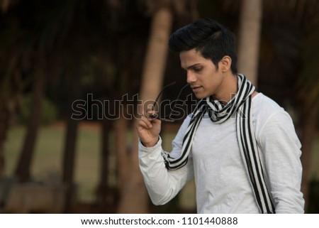 5a4b9b8381a Fashionable Man Wearing Sunglasses Stock Photo (Edit Now) 1101440888 ...