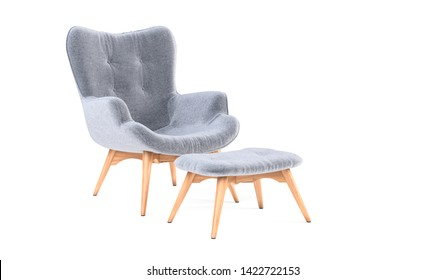 Fashionable modern gray armchair with wooden legs, ottoman isolated on white background. Furniture, interior object, stylish armchair. Single piece of furniture. Scandinavian style armchair