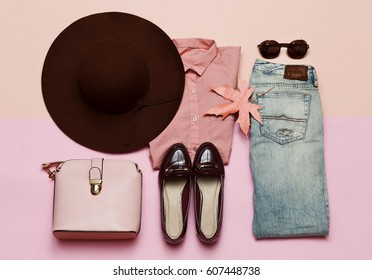 Fashionable Outfit for Lady Shoes and hat. Denim. Stylish Accessory Bag City Pink Fashion