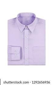 Fashionable plain purple mens shirt isolated on a white background