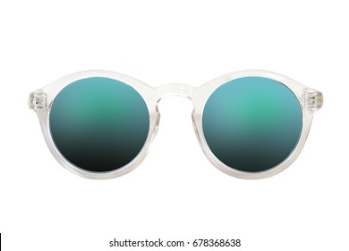 Fashionable plastic sunglasses on a white background for applying on a portrait