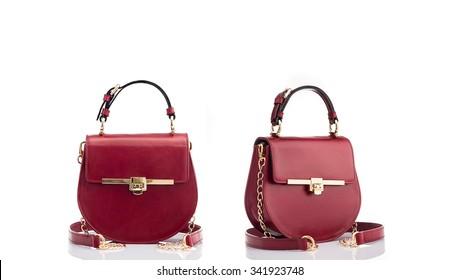 Fashionable red handbag