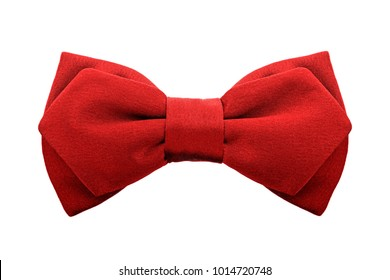 fashionable red two-ply bow tie isolated on white background