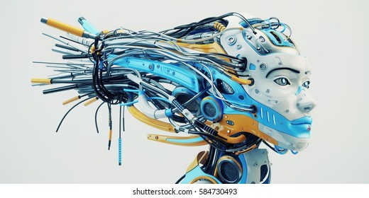 Fashionable robot geisha with bright blue and orange parts, wires. 3d rendering
