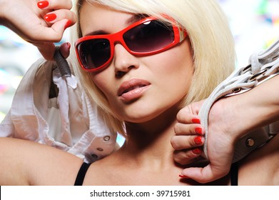 Fashionable and sexy young adult blond woman