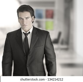 Fashionable sexy young businessman in modern setting
