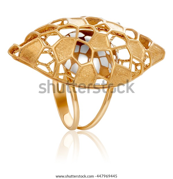 fashionable stylish golden ring. The original gold ring.