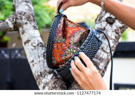 Fashionable Stylish Rattan Bag Outside Tropical Stock Photo (Edit ... 4ca0c45b08522