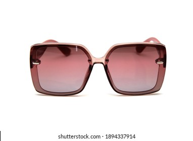 Fashionable sunglasses for women. burgundy glass. beautiful shape. on white isolated background.