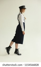 Fashionable teen girl. Full height. Stylish clothes.