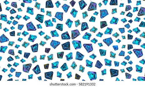 Fashionable vivid pattern with crystals and polygon elements. Retro fashion texture in 80s - 90s style. Bright illustration for clothes, prints, design. Blue turquoise and black color