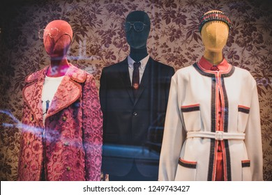 Fashionable window store, shopping for all people, sale time