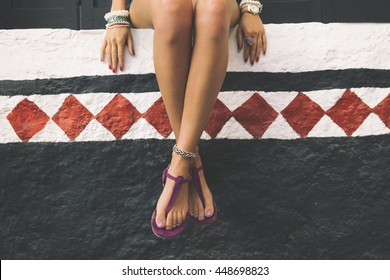 Fashionable woman enjoying outdoors.