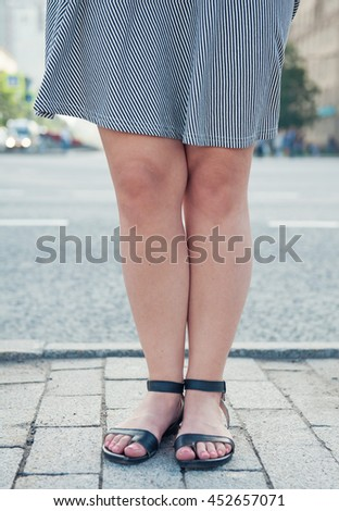 6aee0d23f772 Fashionable Woman Legs Wearing Sandals City Stock Photo (Edit Now ...