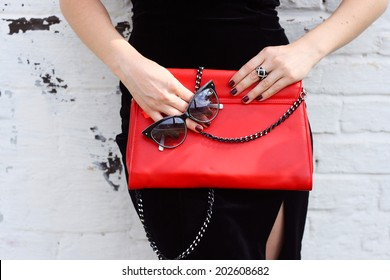 Fashionable woman with  stylish red clutch , accessories, sunglasses white background
