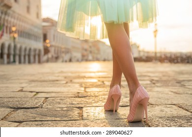 Fashionable woman wearing high heel shoes