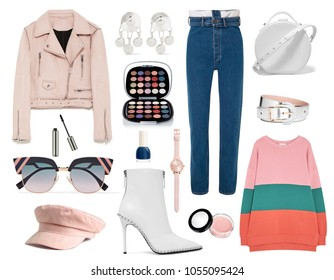 Fashionable women's clothing collage street style