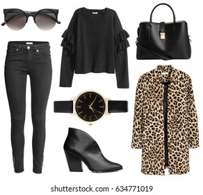 Fashionable women's clothing collage street style with coat, watch, earrings, sunglasses, bag, jeans