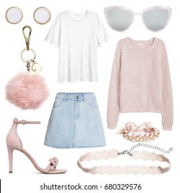 Fashionable women's clothing collage street style with skirt, earrings, sunglasses, bag, shoes