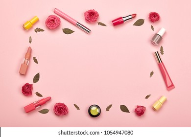 Fashionable Women's Cosmetics and Accessories. Falt Lay. Nail Polish and Lipstick. Beautiful Roses Flower. Make Up Cosmetic items Top View