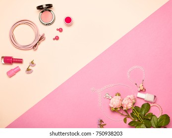 Fashionable Women's Cosmetics and Accessories. Flat Lay. Nail Polish and blush. Jewelry and Rings. A bouquet of flowers. Pink roses