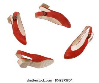 fashionable women's shoes. red flying modern female shoes isolated on white background.