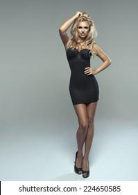 Fashionable young blonde sensual woman