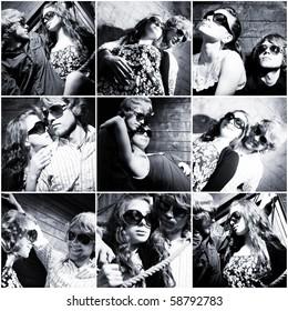Fashionable young couple wearing sunglasses isolated on grunge background