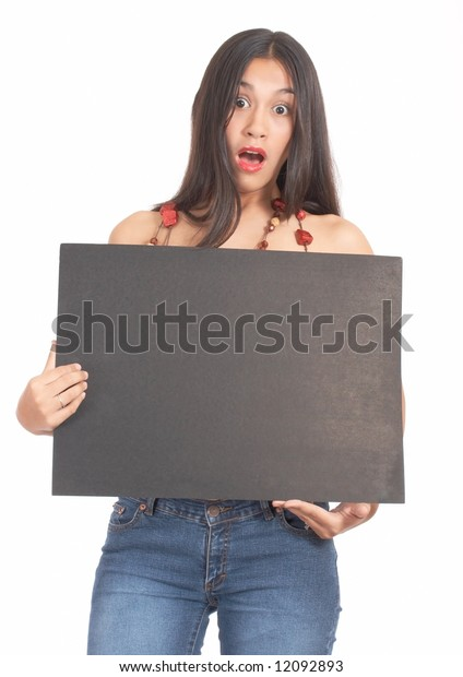 fashionable young teenager holding a blank blackboard