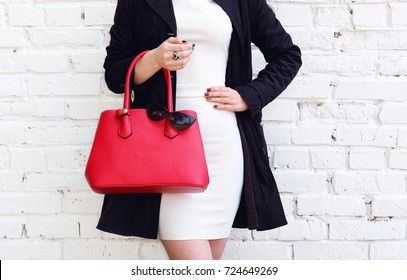Fashionable young woman in coat nice dress and red handbag. Autumn outfit street style.