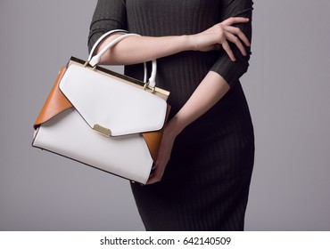 The fashionable young woman in dress holding modern handbag. Gray background