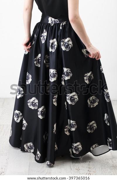 f1a7c7976d Fashionista Black Shirt Long Skirt Floral Stock Photo (Edit Now ...