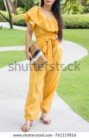girl dress Asian yellow