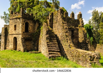 Fasil Ghebbi, Gondar Region. Ethiopia, Africa.  UNESCO World Heritage Site since 1979