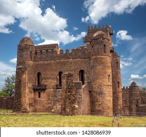 Fasil Ghebbi, Royal fortress-city within Gondar, Ethiopia. Founded in 17th century by Emperor Fasilides. Imperial palace castle complex is also called Camelot of Africa. UNESCO World Heritage Site.