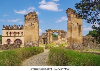 Fasilides Castle, founded by Emperor Fasilides. Fasil Ghebbi is remains of a fortress-city. Its unique architecture shows diverse influences including Nubian styles. UNESCO. Ethiopia, Amhara, Gondar