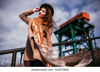 fasion portrait beauty girl on industrial background