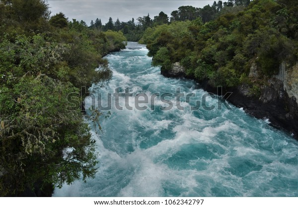Fast blue river near Huka falls
