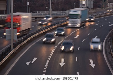 Fast blurry car on highway